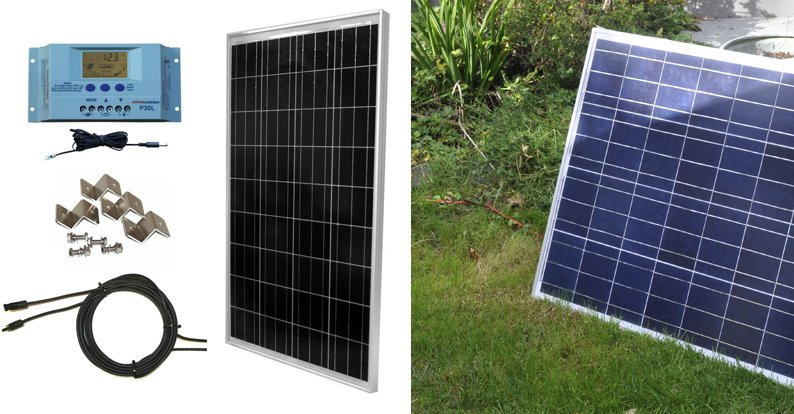 windynation-100w-solar-panel-kit-with-lcd-charge-controller