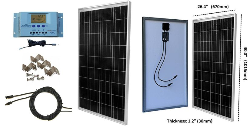 windynation-100w-solar-panel-rv-and-boat-kit-with-lcd-controller-for-sale