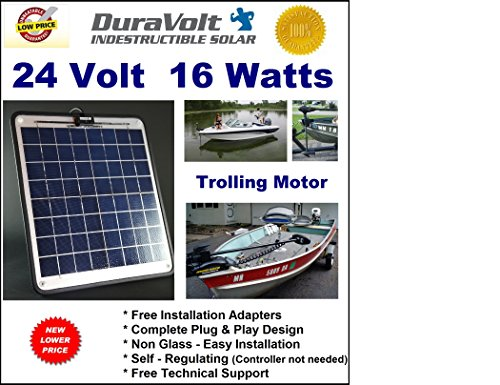 !! 24 Volt Solar Charger !! – 1/2 Amp Trickle Charger For 24V Trolling Motors – Self Regulating – Semi Flexible – 16.6W / ½ Amp – Boat Rv Marine Solar Panel – No Experience Plug & Play Design. Dimensions 14.1 In X 15.7 W X 1/4