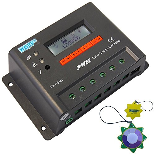HQRP-12V-24V-20-Amp-Solar-Power-Charge-Controller-Regulator-20A-for-Solar-Home-System-300W-600W-with-LCD-screen-and-HMI-plus-HQRP-UV-Meter-0