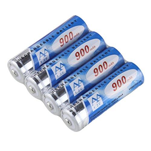 KINSUN 4-Pack Rechargeable Batteries 1.2V Ni-Cd AA 900mAh For Outdoor Solar Garden Lights