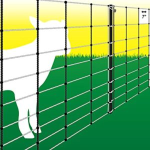 Powerfields-P-75-W-Electric-32-Sheep-Fence-Netting-32-Inches-Tall-X-164-Feet-Long-Netting-15-Line-Post-19-Stakes-2-Tie-Down-cords-Repair-Kit-White-Netting-0