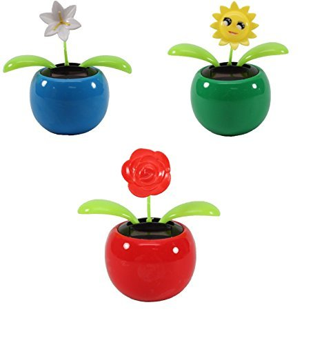 232 & Set of 3 Dancing Flowers ~ 1 Lily+1 Smiley Sunflower+ 1 Rose in Assorted Colorful Pots Solar Toy Holiday Birthday Gift Home Decor US Seller