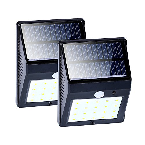 2 Pack 20 Led Solar Wall Lights With Motion Sensor