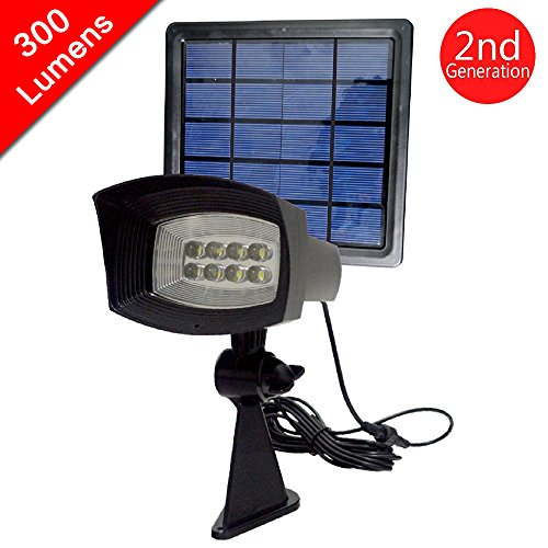 [300 Lumen Output]HKYH Solar Spotlight Wall Light Waterproof, Security Lighting, Path Lights, Outdoor Light, Solar Flag Light For Tree, Patio, Deck, Yard, Driveway, Stairs, Pool Area [2nd Generation]