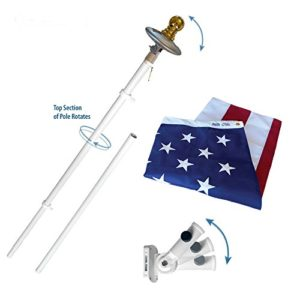 American-Flag-and-Flagpole-Set-6-ft-Aluminum-Spinner-Pole-that-Rotates-360-Degrees-Includes-a-Solar-Light-and-US-Flag-3x5-ft-SolarGuard-Nylon-by-Annin-Flagmakers-Mansion-Kit-Model-42914-0