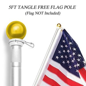 5-Feet-Wall-Mount-Flagpole-ANLEY-Aluminum-Flag-Pole-with-Rotating-Rings-Weather-Resistant-Rust-Free-Ball-Top-Silver-Finish-0