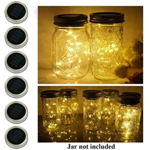 6-Pack-Mason-Jar-Lights-20-LED-Solar-Cold-White-Fairy-String-Lights-Lids-Insert-for-Garden-Deck-Patio-Party-Wedding-Christmas-Decorative-Lighting-Fit-for-Regular-Mouth-Jars-0