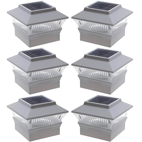 6-Pack-Solar-Power-Square-White-Outdoor-Garden-Deck-4-x-4-PVC-Fence-Post-Light-0