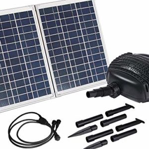 AQUAPLANCTON-MNP-SP50-50W-Powerful-Twin-Panel-Solar-Powered-Submersible-Pond-Pump-Kit-with-16-feet-898-GPH-Kit-Weighs-Over-23-pounds-Ready-to-Connect-to-Waterfall-or-Filtration-System-0