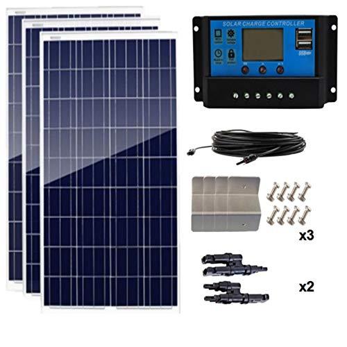 AUECOOR 300 Watt (3pcs 100 Watt) 12V Polycrystalline Solar Panel Off-Grid RV Boat Kit W/LCD P30L Solar Charge Controller…