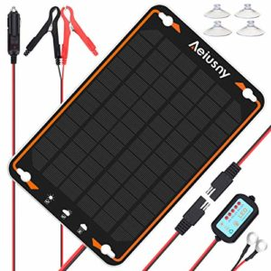 Aeiusny-12V-Solar-Car-Battery-Trickle-Charger-Maintainer-5W-Solar-Panel-Power-Kit-Portable-Backup-for-Automotive-RV-Marine-Boat-Motorcycle-Truck-Trailer-Tractor-Powersports-Snowmobile-Farm-Equipment-0