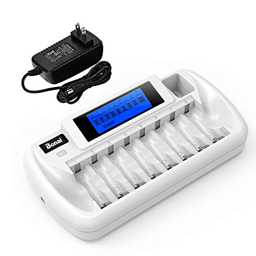 BONAI 8+1 Bay AA Battery Charger With LCD Display For Rechargeable AA/AAA NiMH/NiCd 9V Rechargeable Batteries
