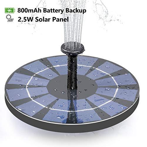 CONXWAN Solar Fountain For Bird Bath, 2.5W Solar Water Fountain Pump With 800mAh Battery Backup, Free Standing Solar…