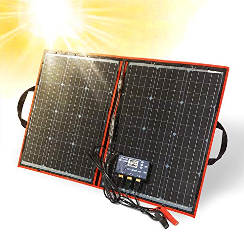 DOKIO 80 Watt 12 Volt Folding Solar Panel Kit For Camping (LIGHTWEIGHT 4lb) Solar Chargers With Dual USB Outputs