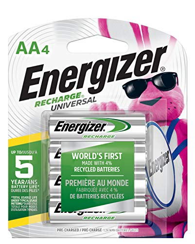 Energizer Rechargeable AA Batteries, NiMH, 2000 MAh, Pre-Charged, 4 Count (Recharge Universal) – Packaging May Vary