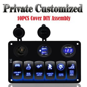 FXC-Customized-6-Gang-Rocker-Switch-Panel-with-Digital-Voltmeter12V-power-Socket-Double-USB-Power-Charger-Adapter-Waterproof-Blue-LED-Backlight-for-Car-Trailer-Marine-Boat-0