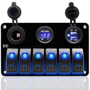 FXC-Metal-Aluminum-Marine-Boat-Rocker-Switch-Panel-6-Gang-with-Dual-USB-Slot-Socket-Cigarette-Lighter-Digital-Voltage-Display-LED-Light-for-Car-Rv-Vehicles-Truck-0